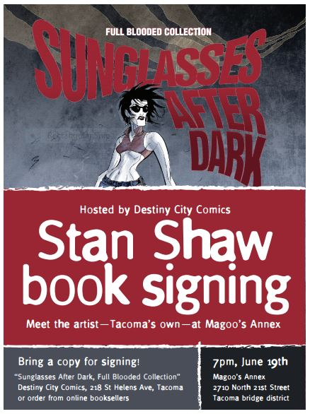 Sunglasses After Dark signing with Stan Shaw at Magoo's